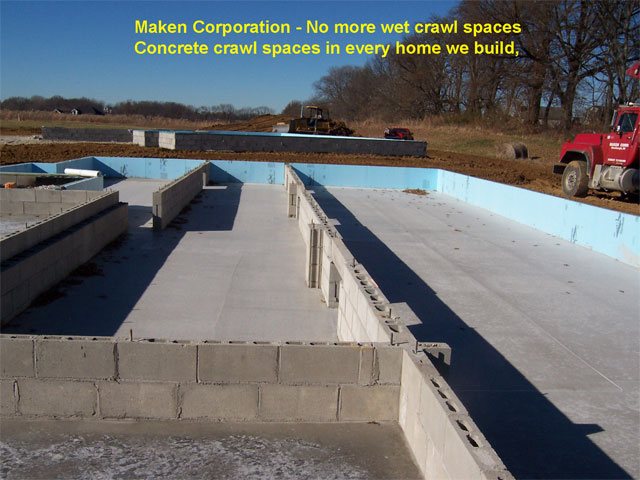 Maken corporation land development for Concrete in crawl space
